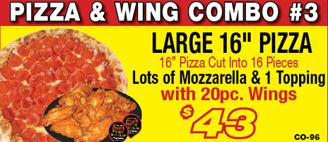 Salvatore's large pizza & wing combo
