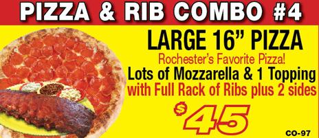 Salvatore's large pizza & rib combo