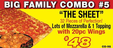 Salvatore's sheet pizza combo